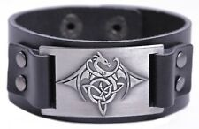 Viking Pterosaur Flying Dragon Celtic Knot Trinity Triquetra Leather Bracelet