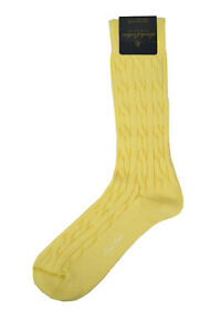 Brooks Brothers Men's Yellow Cable Knit Egyptian Cotton Socks 7 1/2-12 8838-7
