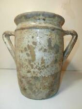 Raro antico vaso contenitore in ceramica maiolicata con manici