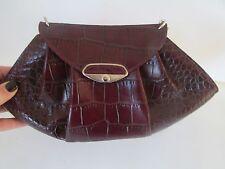 Furla Leather Crocodile Embossed Deep Burgundy Fan Convertible Purse Clutch