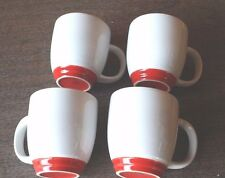 M WARE SET OF 4 COFFEE MUGS CUPS RESTAURANT COMMERCIAL WHITE RED BASE 14 OZ NEW