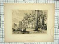 Original Old Antique Print Architecture St. Mary'S Abbey York England