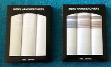 NEW MENS 3 MULTI-PACK GIFT BOXED 100% COTTON WHITE STRIPED HANDKERCHIEFS HANKIES