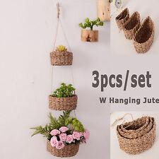 3pcs hanging plant holder flower pot basket linen wicker w Jute rope plant stand