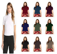Women Ladies Short Sleeve Roll Polo Neck Thermal T-Shirt Top Turtle Neck Top