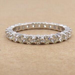 Hearts On Fire 1.15ctw Diamond Wedding Eternity 18K White Gold Ring Sz7 LJG2