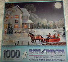 """Bits And Pieces 1000 Piece Puzzle """"Holiday Night Ride"""" Used Panoramic Puzzle"""