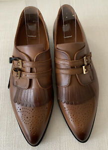 Massimo Dutti Flat Ladies Brogue Tongue Tan Brown Shoes Size 39 NEW WITH TAGS