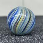 "Antique Vintage .87"" German Bleu White Onionskin Swirl Handmade Glass Marble"