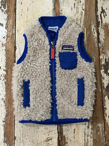Patagonia Size 3-6M Baby Retro X Deep Pile Sherpa Vest Oatmeal Blue