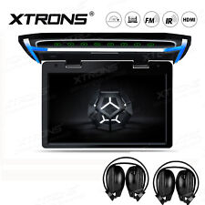 Black 10.2 inch Flip Down Roof Mount Monitor DVD Player Game Headsets Car Video
