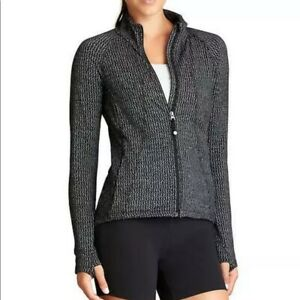 Athleta Heartbeat Hope Track Jacket Large L Gray Black Herringbone Zip Up