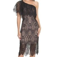 Dress the Population Black Lace One Shoulder Dress Cocktail Holiday Sexy Violet