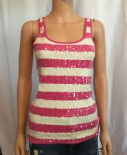 Old Navy Bling Striped Tank Top Pink/White Sequins Medium M NEW! $20