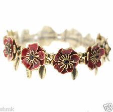 Pilgrim Elegant Twin Blossom Elasticated Bracelet in with dangling leave