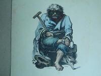 XIX Antica Incisione Da Charlet & Porret Ritratto Acquerello