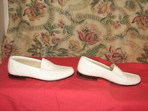 Florsheim Men's Loafers Dress Shoes Sz 9 D Basket Weave Leather White