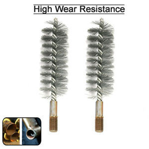 2Pcs 25mm Cylinder Steel Wire Round Tube Cleaning Brush Rotary Tool Thread M12