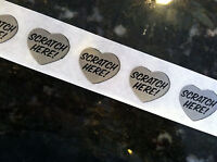 "25 Silver HEART 1"" SCRATCH HERE SCRATCH OFF Stickers Labels Games Tickets Favors"