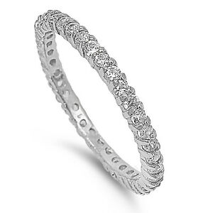 Sterling Silver 925 PRETTY STACKABLE ETERNITY DESIGN CZ STONES RINGS SIZES 4-12*