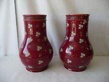 Paire de vase rouge bordeaux émaillé décor floral BFK Boch Frères Keramis Belge