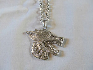 Silver Plated Diamond Cut Sand Blasted Wolf Charm Fashion Necklace