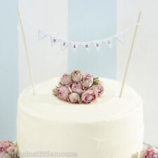 Onorevole & Mrs TORTA Bunting-VINTAGE RUSTIC WHITE WEDDING CAKE TOPPER DECORAZIONE