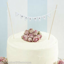 MR & MRS CAKE BUNTING  - vintage rustic  white wedding cake topper decoration