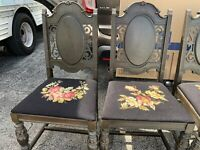 "Antique Set Of 4 Wooden Dining Chairs Black Seat Floral Design Oval Inset 38""H"