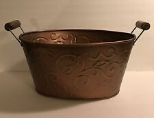 Log Carrier Holder Copper Firewood Bucket Rack Oval Tub Indoor Antiqued LARGE