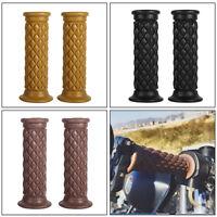 "2x Vintage Cafe Race Soft Rubber 22mm 7/8"" Handlebar Hand Grip Motorcycle Bike"