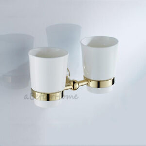 Double Ceramic Tumbler Cup Holder Wall Mount for Toothpaste Toothbrush Bathroom