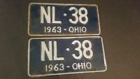 Vintage 1963 Ohio License Plate Pair Blue and White NL38