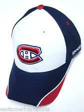 Montreal Canadiens NHL Reebok White Blue Red Logo Hat Cap Structured Adjustable