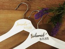 DIY personalised coat hanger decal with wedding title or name and date