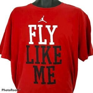Fly Like Me Jordan Brand T Shirt 2XL Red Michael Be Like Mike Basketball Defects