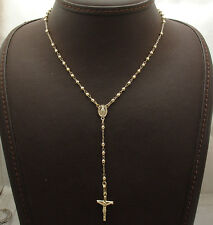 "17"" 2.5mm Rosary Chain Medal Cross Crucifix Necklace Real 10K Yellow Gold"