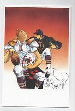 Carte Postale Tintin par Pascal SOMON. Tintin joueur de foot américain. NEUF