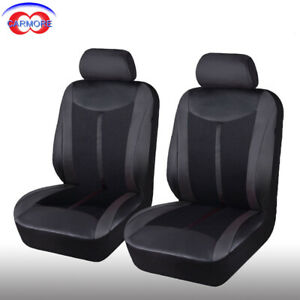 2 Front 6pc PU Leather Mesh Car Seat Covers Set Breathable Black Seats Protector