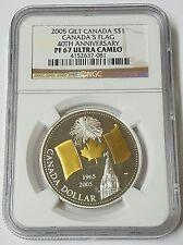2005 Gilt Canada $1 Silver Canada's Flag 40th Anniversary NGC PF67 Ultra Cameo