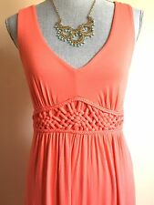 Moa Moa Pretty Coral Maxi Long Dress Empire Waist and Macrame Detail Size Medium