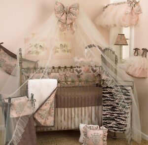 9 Piece Crib Bedding Baby Girl Floral Bow Tulle Pink Cream Charcoal