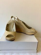 NINE WEST NUDE PATENT LEATHER WOODEN WEDGE HEEL PLATFORM HEELS  SIZE 6.5/40
