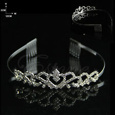 Wedding Bridal Comb Tiara Rhinestone Crystal Crown Pageant Headband Hair Silvery