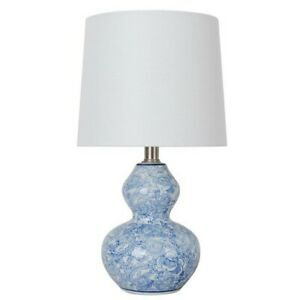 15.75 in. Blue Floral Ceramic Table Lamp with White Fabric Shade