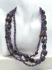 Multi Strand Amethyst Carnelian Chunky Polished Beads Necklace Feb Birthstone
