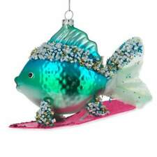 Blue Fish Surfing Glass Christmas Ornament