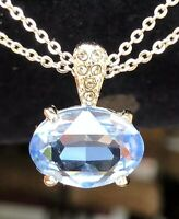 Swarovski SWAN Signed  Blue Crystal Necklace