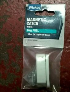 WICKES MAGNETIC CATCH - WHITE - 6KG PULL - NEW    - (R9-3)