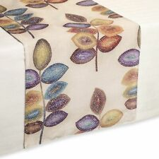 "Croscill Mosaic Leaves Table Runner 14x90"" Neutral Tones"